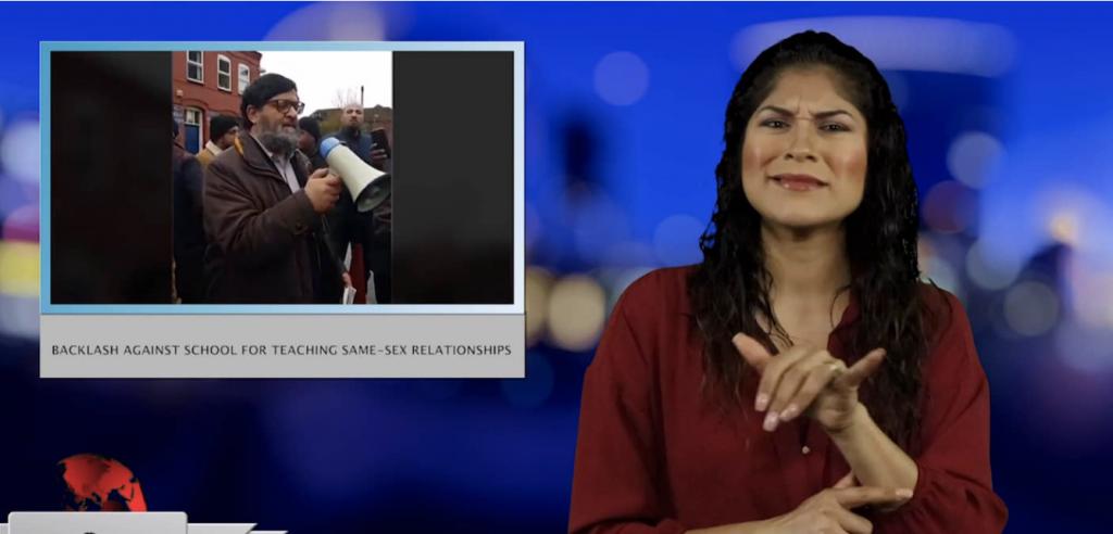 Sign1News anchor Crystal Cousineau - Backlash against school for teaching same-sex relationships (ASL - 4.28.19)