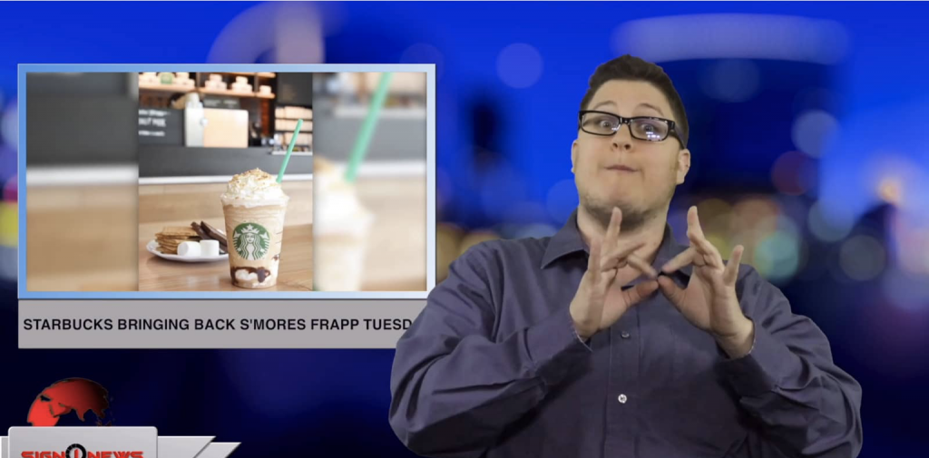 Sign1News anchor Jethro Wooddall - Starbucks bringing back s'mores frapp Tuesday (ASL - 4.29.19)