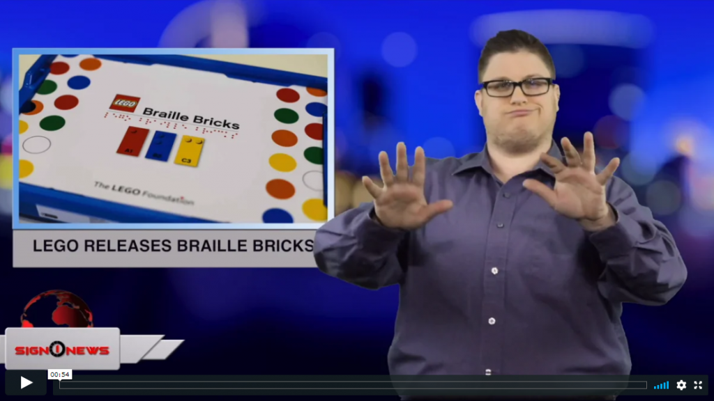 Sign 1 News with Jethro Wooddall - Lego releases braille bricks (ASL - 4.24.19)