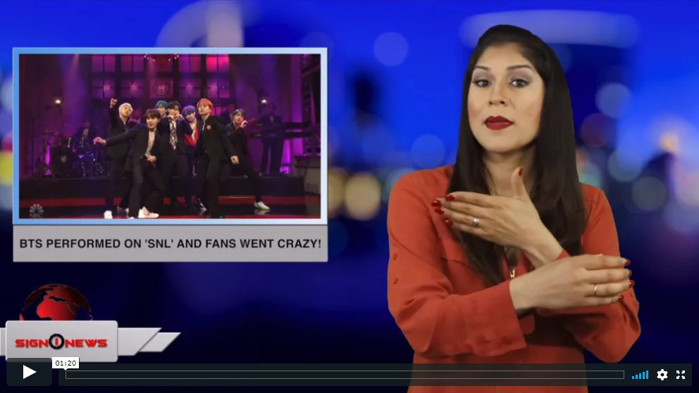 Sign 1 News with Crystal Cousineau - BTS performed on 'SNL' and fans went crazy! (ASL - 4.14.19)
