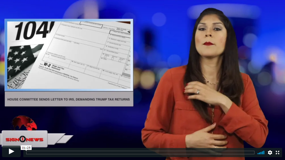Sign 1 News with Crystal Cousineau - House committee sends letter to IRS, demanding Trump tax returns (ASL - 4.14.19)