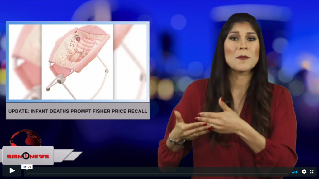 Sign 1 News with Crystal Cousineau - Update: Infant deaths prompt Fisher Price recall (ASL - 4.13.19)