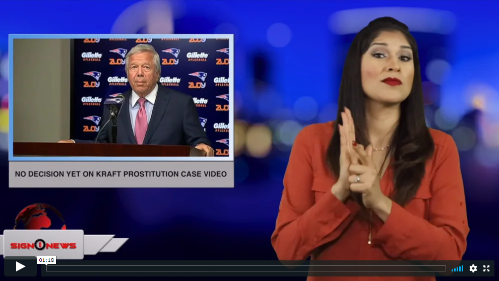 Sign 1 News with Crystal Cousineau - No decision yet on Kraft prostitution case video (ASL - 4.14.19)