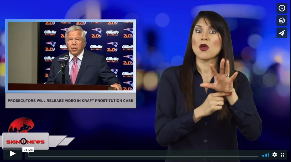 Sign 1 News with Crystal Cousineau - Prosecutors will release video in Kraft prostitution case (ASL - 4.17.19)