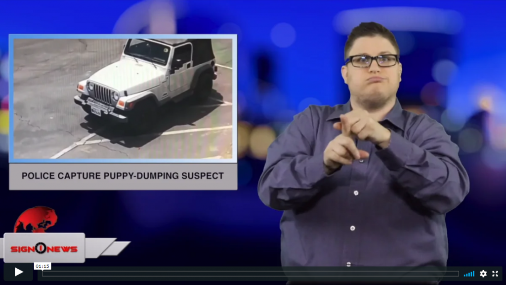 Sign 1 News with Jethro Wooddall - Police capture puppy-dumping suspect (ASL - 4.24.19)