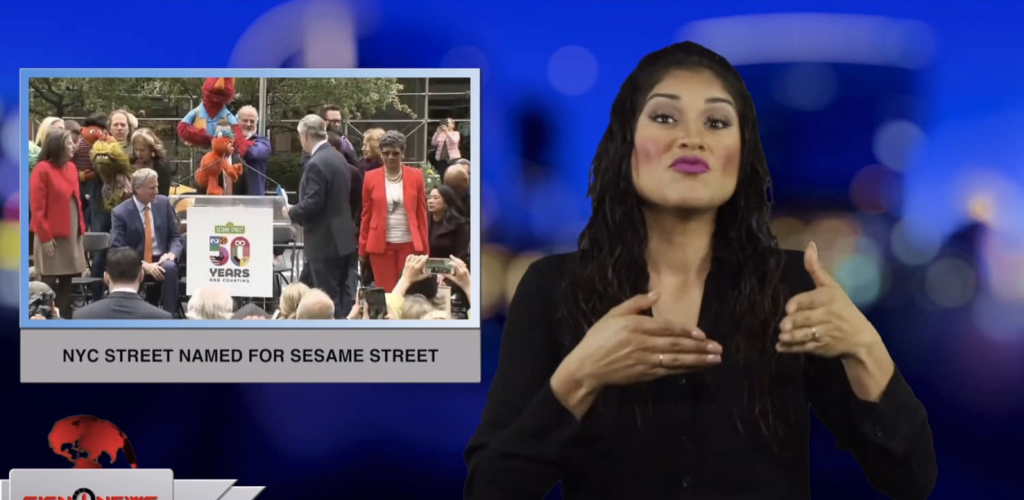 Sign1News anchor Crystal Cousineau - NYC street named for Sesame Street (ASL - 5.2.19)