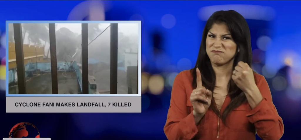 Sign1News anchor Crystal Cousineau - Cyclone Fani makes landfall, 7 killed (ASL - 5.3.19)