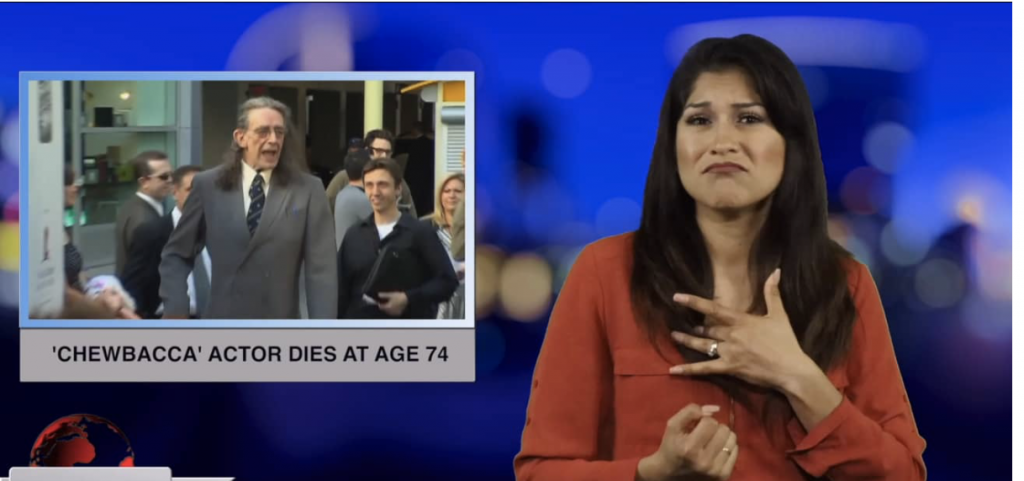 Sign1News anchor Crystal Cousineau - 'Chewbacca' actor dies at age 74 (ASL - 5.3.19)