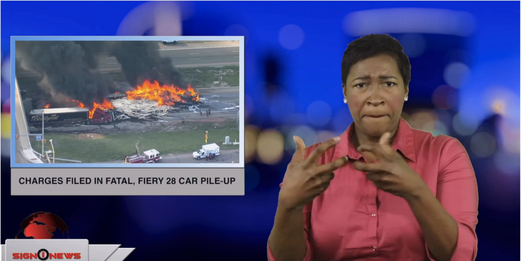 Sign1News anchor Candace Jones - Charges filed in fatal, fiery 28 car pile-up (ASL - 5.4.19)