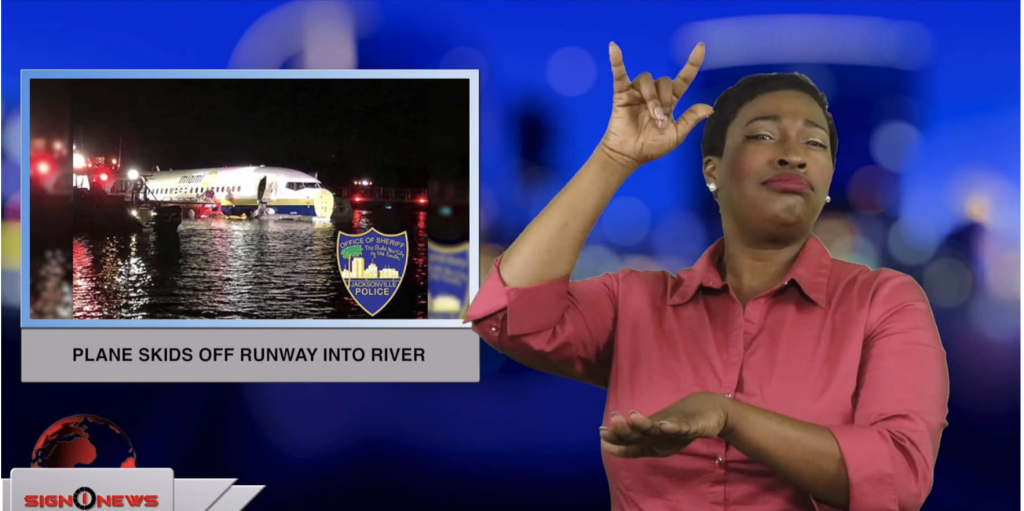 Sign1News anchor Candace Jones - Plane skids off runway into river (ASL - 5.4.19)