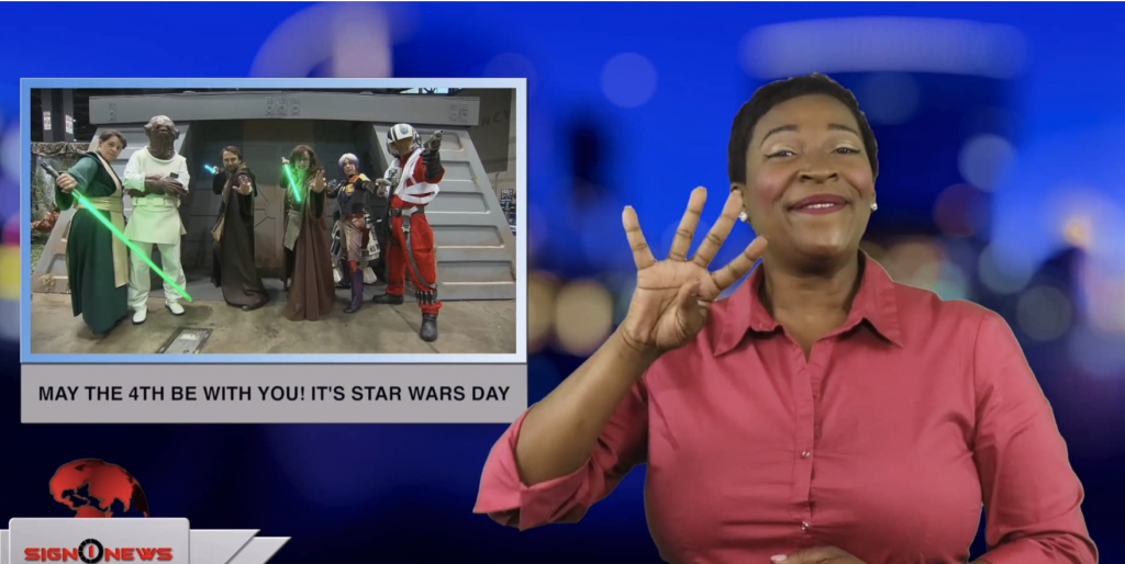 Sign1News anchor Candace Jones - May the 4th be with you! It's Star Wars Day! (ASL - 5.4.19)