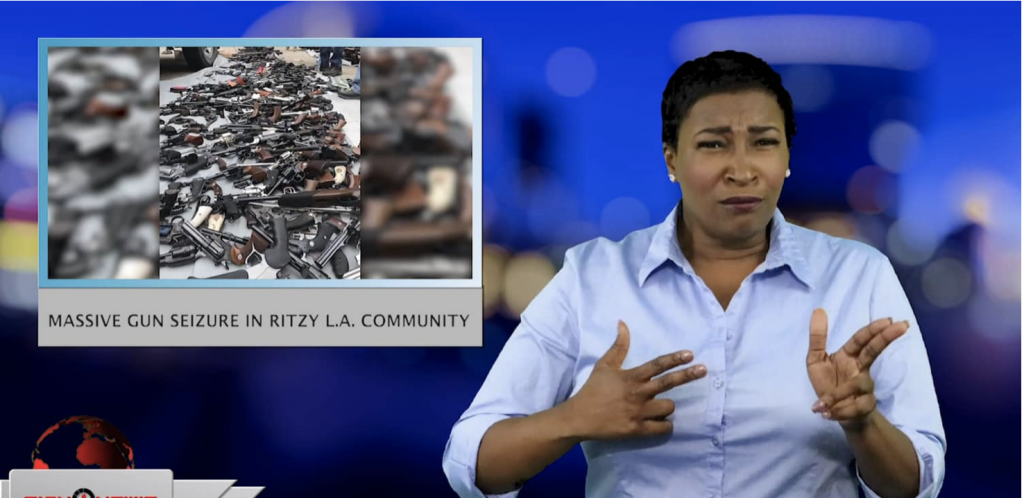 Sign1News anchor Candace Jones - Massive gun seizure in ritzy L.A. community (ASL - 5.9.19)
