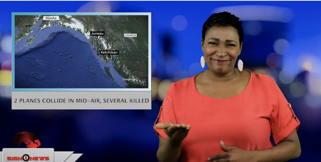 Sign1News anchor Candace Jones - 2 planes collide in mid-air, several killed (ASL - 5.14.19)
