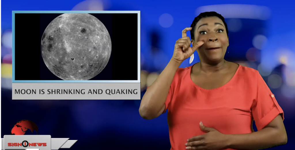 Sign1News anchor Candace Jones - Moon is shrinking and quaking (ASL - 5.14.19)