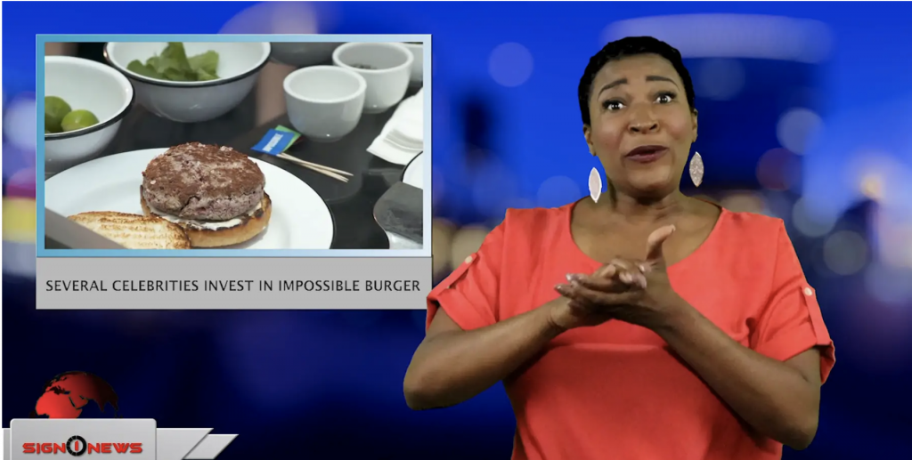 Sign1News anchor Candace Jones - Several celebrities invest in Impossible Burger (ASL - 5.14.19)