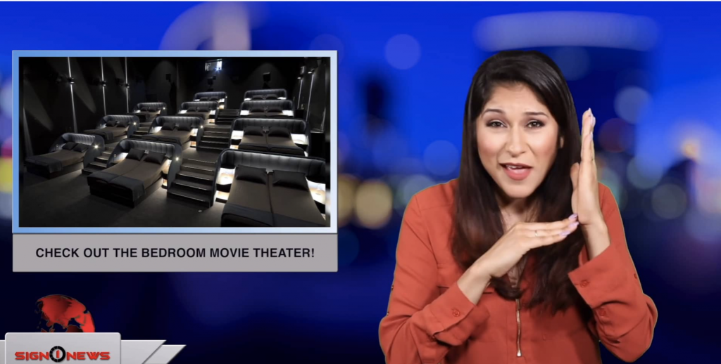 Sign1News anchor Crystal Cousineau - Check out the bedroom movie theater! (ASL - 5.17.19)