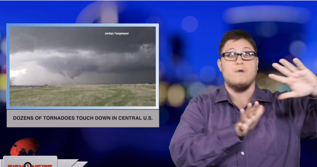 Sign1News anchor Jethro Wooddall - Dozens of tornadoes touch down in central U.S. (ASL - 5.18.19)