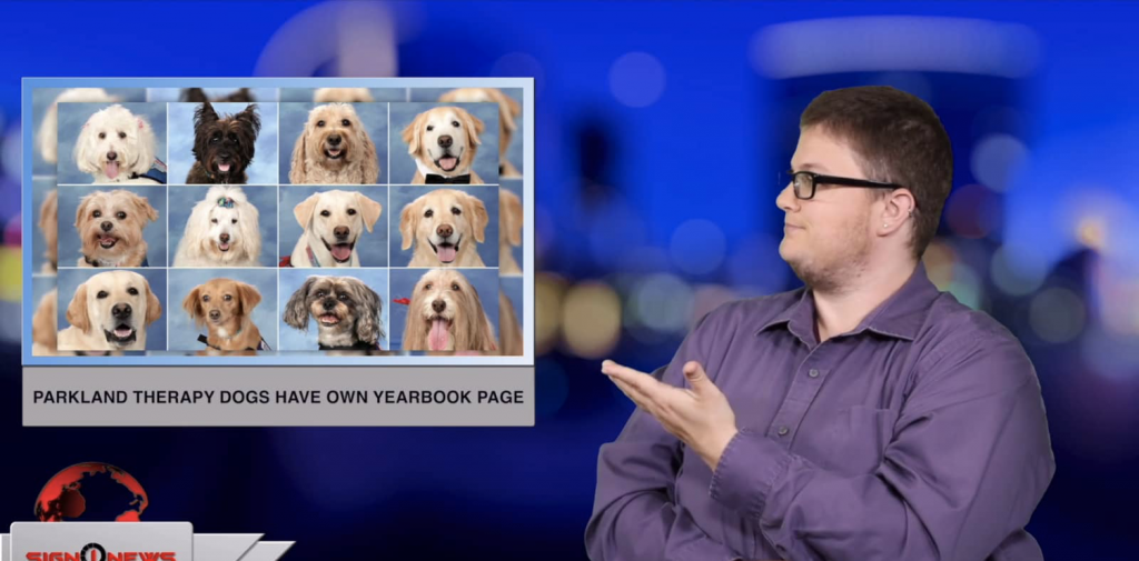 Sign1News anchor Jethro Wooddall - Parkland therapy dogs have own yearbook page (ASL - 5.18.19)