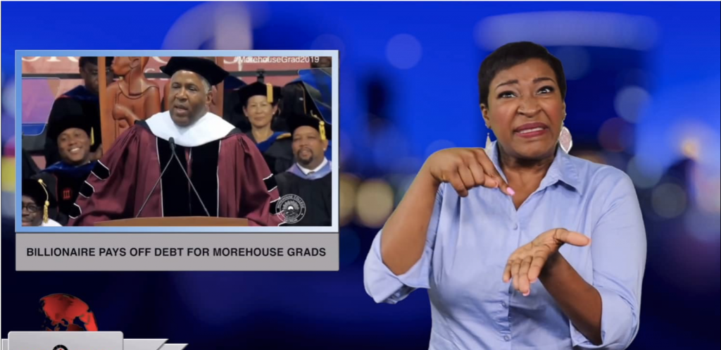 Sign1News anchor Candace Jones - Billionaire pays off debt for Morehouse grads (ASL - 5.20.19)
