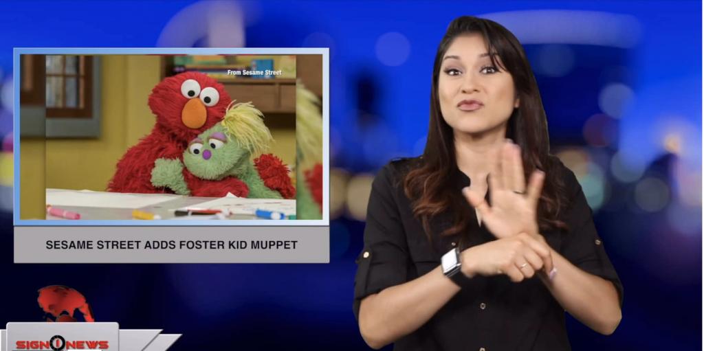 Sign1News anchor Crystal Cousineau - Sesame Street adds foster kid muppet (ASL - 5.21.19)