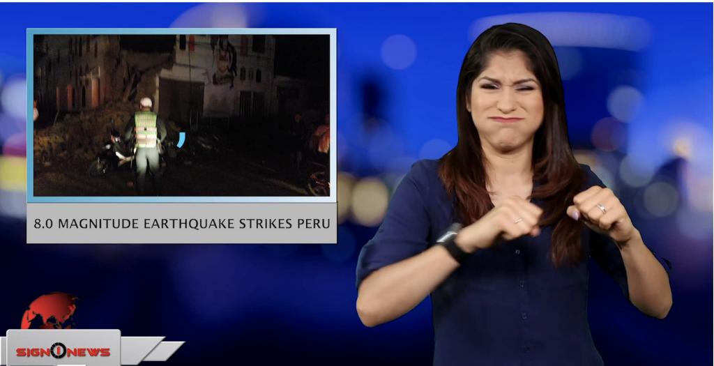 Sign1News anchor Crystal Cousineau - 8.0 Magnitude earthquake strikes Peru (ASL - 5.26.19)