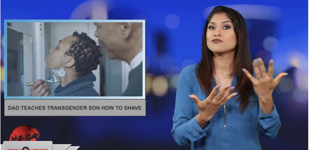 Sign1News anchor Crystal Cousineau - Dad teaches transgender son how to shave (ASL - 5.27.19)