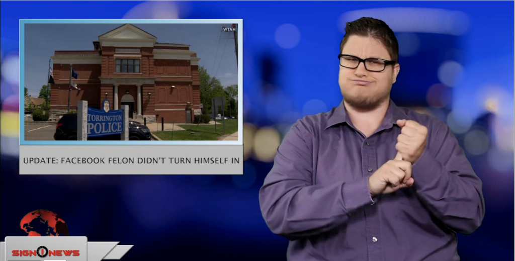 Sign1News anchor Jethro Wooddall - Update: Facebook felon didn't turn himself in (ASL - 5.28.19)