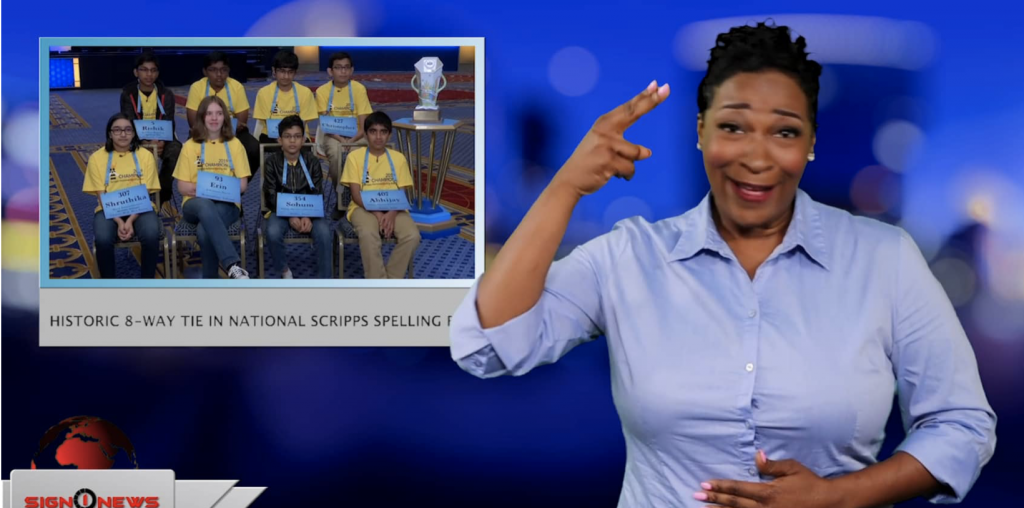 Sign1News anchor Candace Jones - Historic 8-way tie in National Scripps Spelling Bee (ASL - 5.31.19)