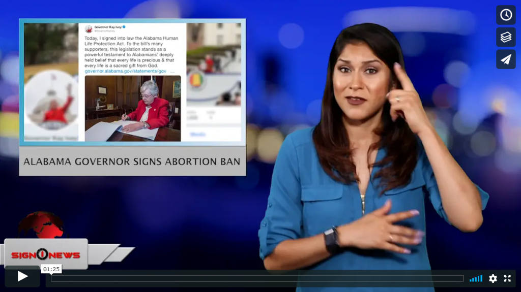 Sign 1 News with Crystal Cousineau - Alabama Governor signs abortion ban (ASL - 5.16.19)