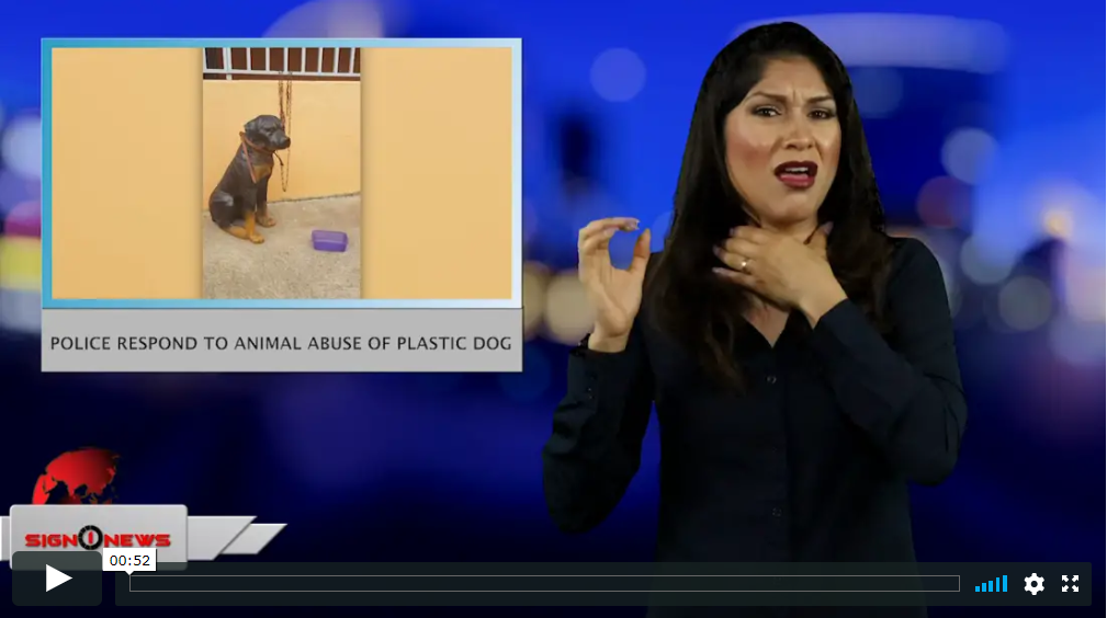 Sign 1 News with Crystal Cousineau - Police respond to animal abuse of plastic dog (ASL - 5.11.19)