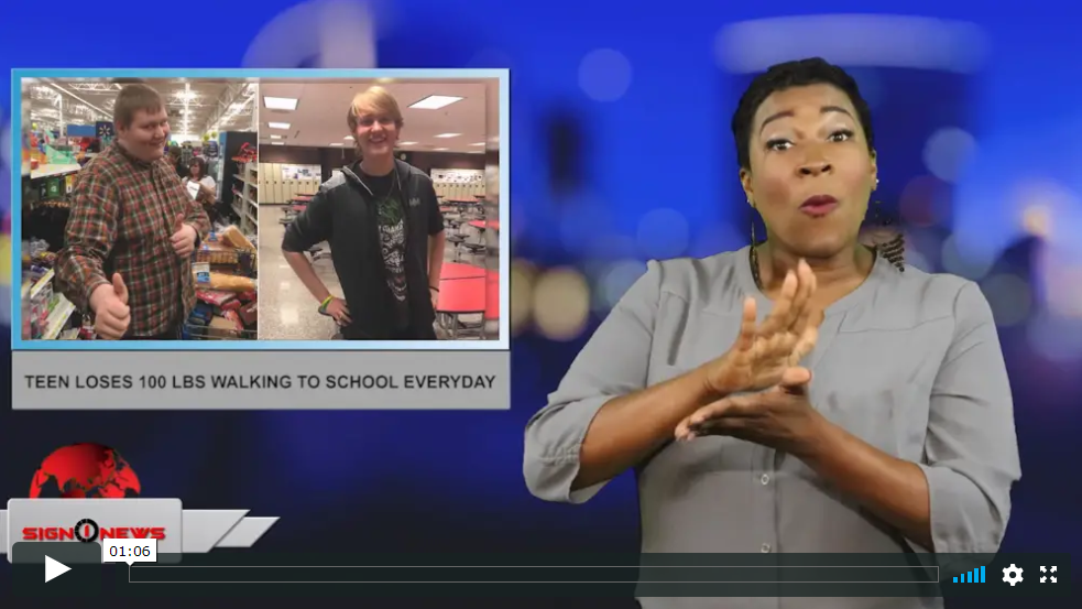 Sign 1 News with Candace Jones - Teen loses 100 lbs walking to school everyday (ASL - 5.15.19)