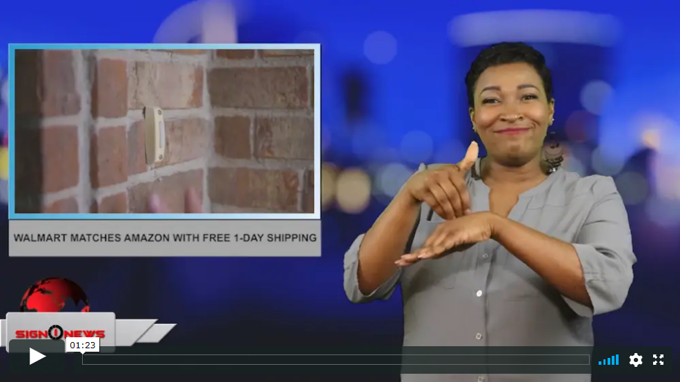 Sign 1 News with Candace Jones - Walmart matches Amazon with free 1-day shipping (ASL - 5.15.19)
