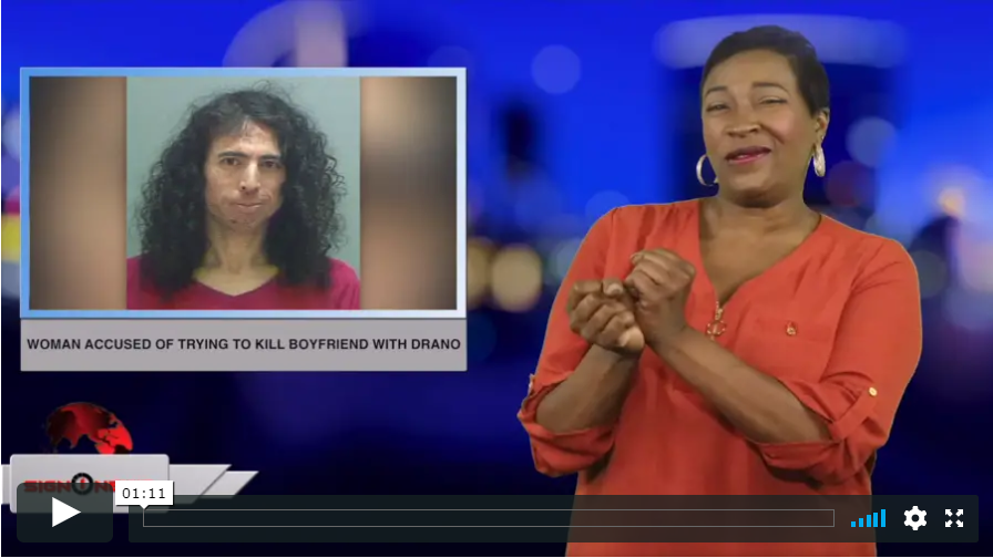 Sign 1 News with Candace Jones - Woman accused of trying to kill boyfriend with Drano (ASL - 5.5.19)