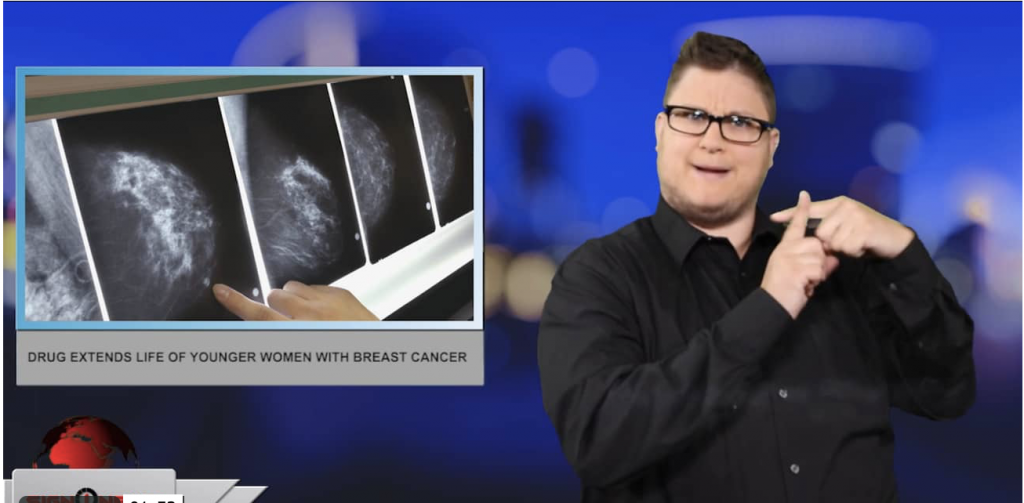 Sign1News anchor Jethro Wooddall - Drug extends life of younger women with breast cancer (ASL - 6.2.19)