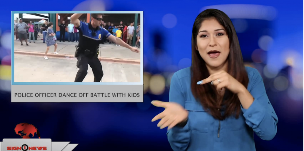 Sign1News anchor Crystal Cousineau - Police officer dance off battle with kids (ASL - 6.7.19)