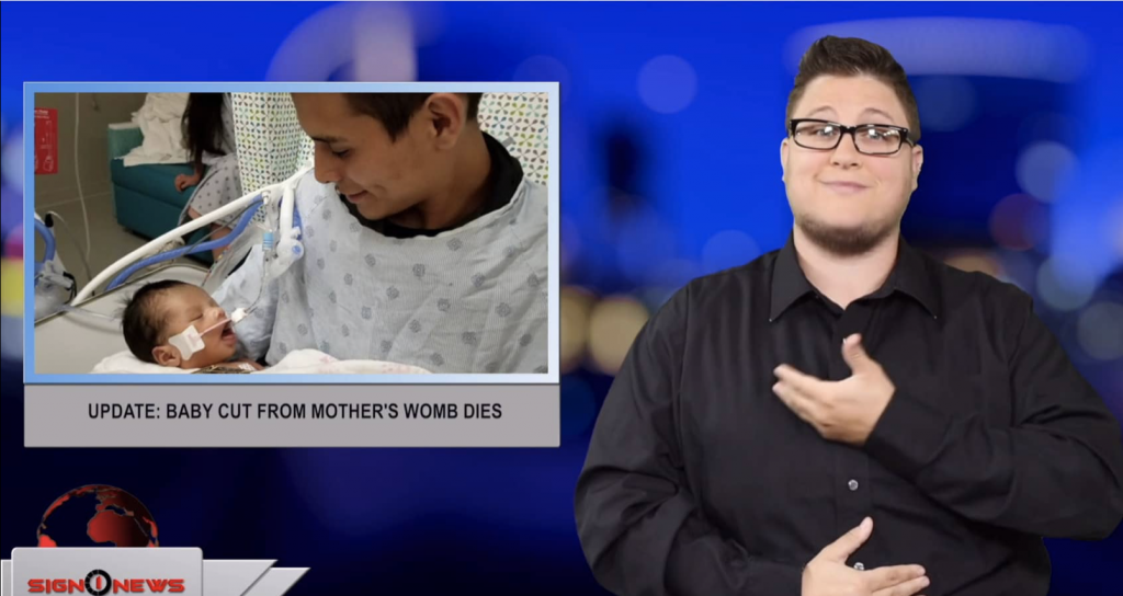 Sign1News anchor Jethro Wooddall - Update: baby cut from mother's womb dies (ASL - 6.14.19)