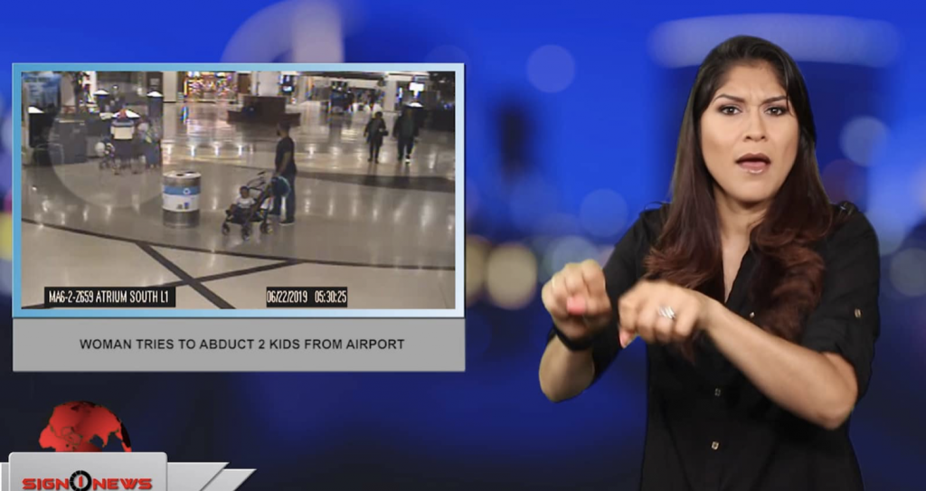 Sign1News anchor Crystal Cousineau - Woman tries to abduct 2 kids from airport (ASL - 6.26.19)
