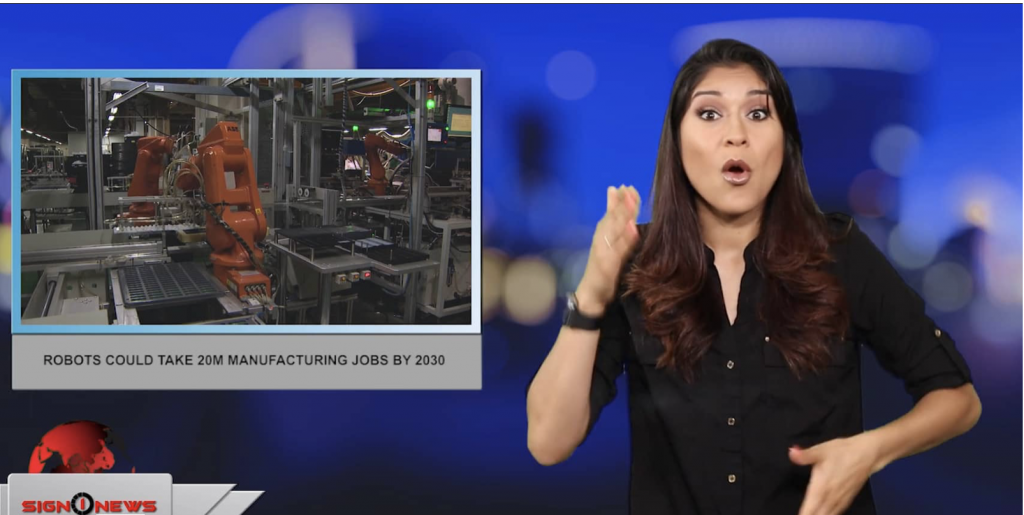 Sign1News anchor Crystal Cousineau - Robots could take 20M manufacturing jobs by 2030 (ASL - 6.26.19)