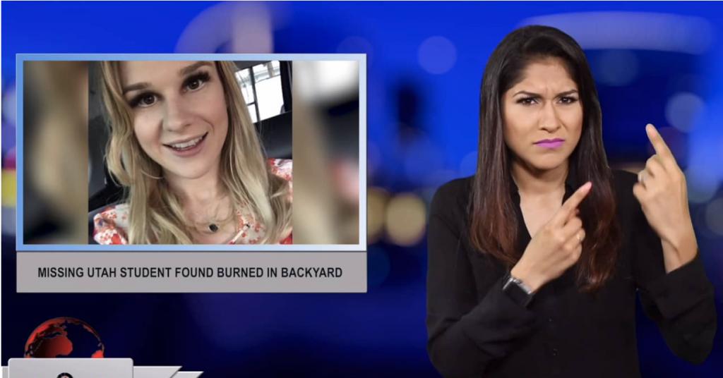 Sign1News anchor Crystal Cousineau - Missing Utah student found burned in backyard (ASL - 6.29.19)