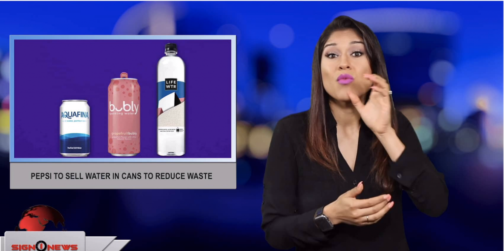 Sign1News anchor Crystal Cousineau - Pepsi to sell water in cans to reduce waste (ASL - 6.29.19)