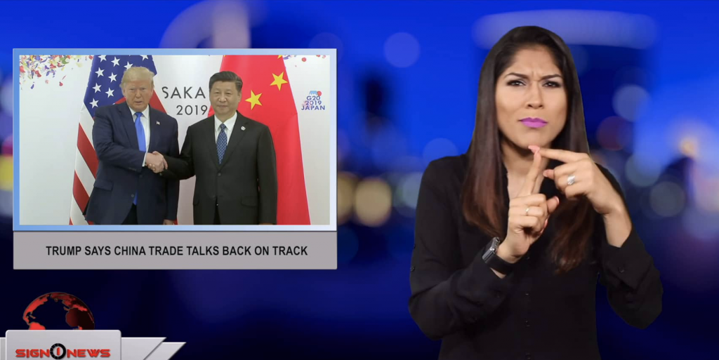 Sign1News anchor Crystal Cousineau - Trump says China trade talks back on track (ASL - 6.29.19)