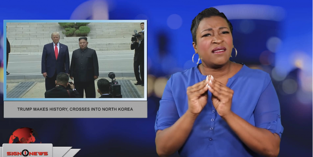 Sign1News anchor Candace Jones - Trump makes history, crosses into North Korea (ASL - 6.30.19)