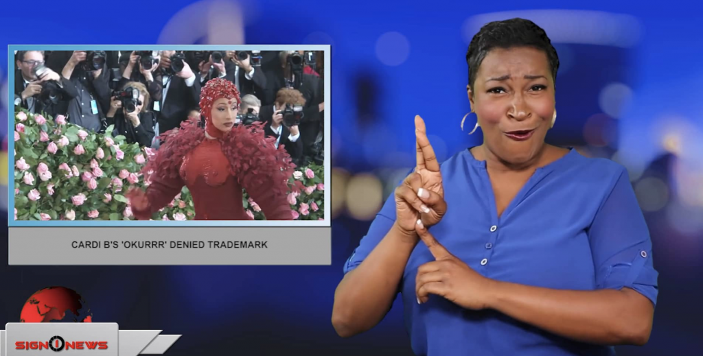 Sign1News anchor Candace Jones - Cardi B's 'Okurrr' denied trademark (ASL - 6.30.19)