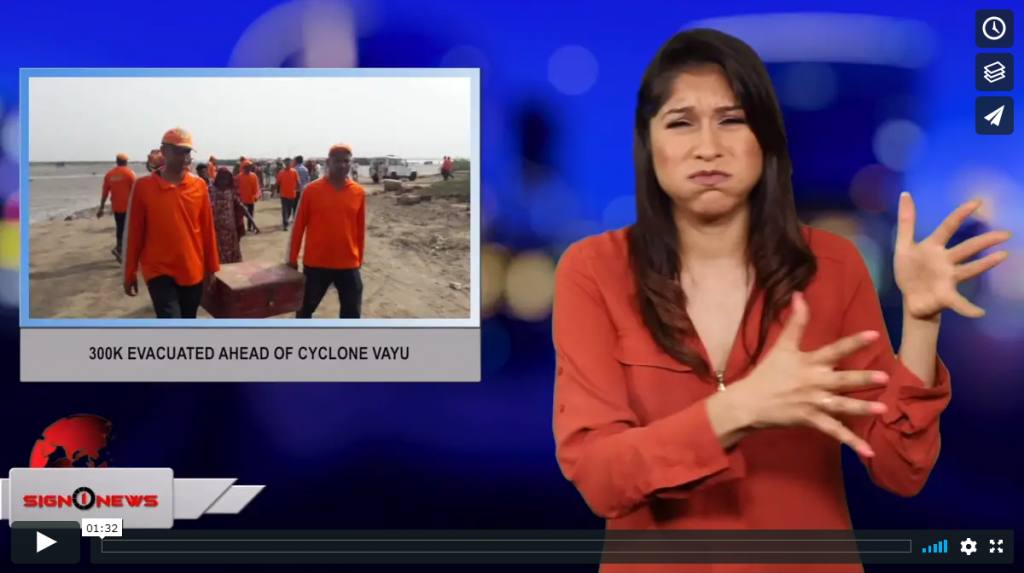 Sign 1 News with Crystal Cousineau - 300K evacuated ahead of Cyclone Vayu (ASL - 6.12.19)
