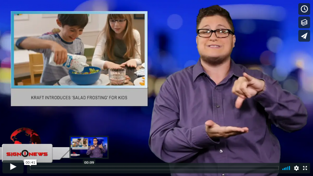 Sign 1 News with Jethro Wooddall - Kraft introduces 'Salad Frosting' for kids (ASL - 6.11.19)