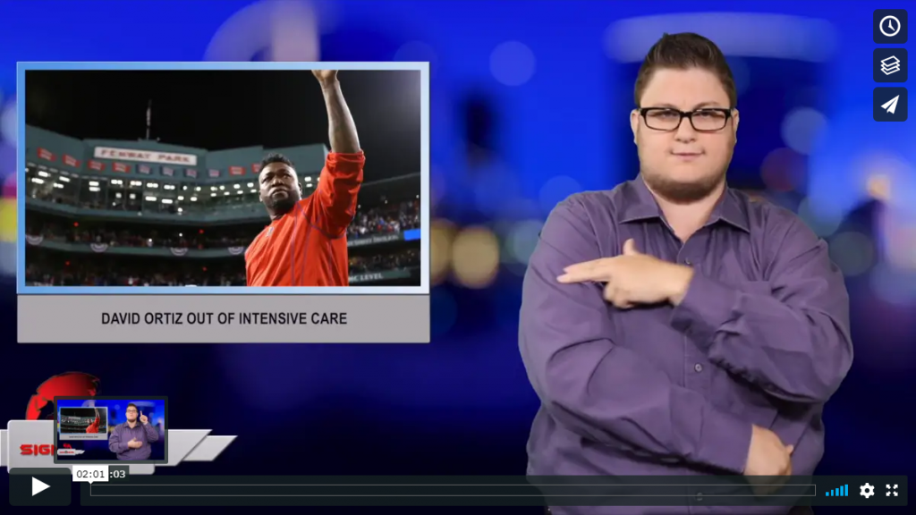 Sign 1 News with Jethro Wooddall - David Ortiz out of intensive care (ASL - 6.23.19)