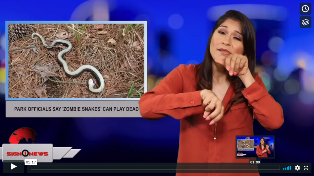 Sign 1 News with Crystal Cousineau - Park officials say 'Zombie snakes' can play dead (ASL - 6.12.19)