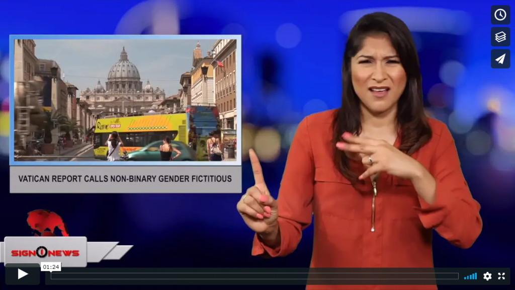 Sign 1 News with Crystal Cousineau - Vatican report calls non-binary gender fictitious (ASL - 6.12.19)