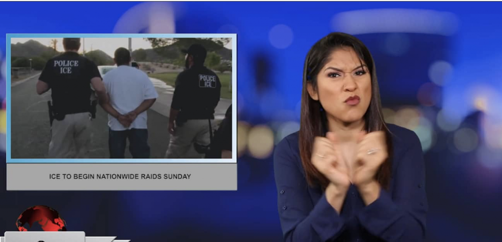 Sign1News anchor Crystal Cousineau - ICE to begin nationwide raids Sunday (ASL - 7.11.19)