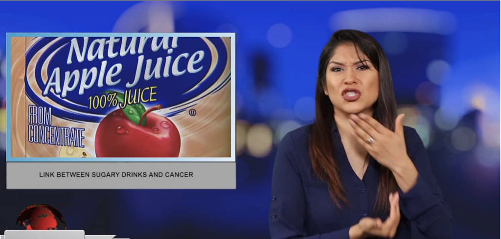 Sign1News anchor Crystal Cousineau - Link between surgery drink and cancer (ASL - 7.11.19)